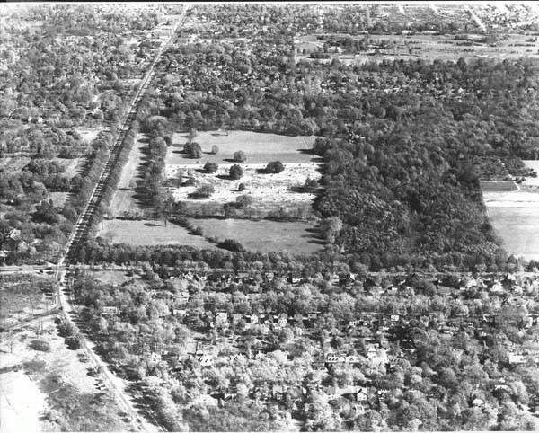 Longwood Estate, 1949: This aerial photograph from 1949 looks eastward from the intersection of Mayfield and Taylor Roads, which is near the bottom left corner of the image. The Longwood Estate is the open stretch of land to the south of Mayfield Road. This land became the site of the Severance Center mall. The Longwood mansion (razed in 1961) can be seen just to the right of the center of the image.